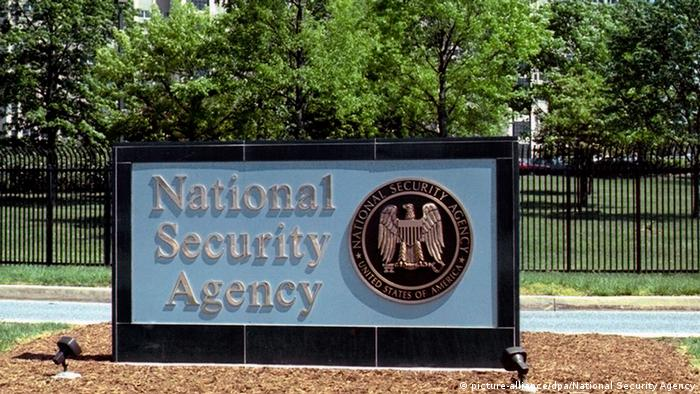 An undated handout image by the National Security Agency (NSA) shows the NSA logo in front of the National Security Agency's headquarters in Fort Meade,