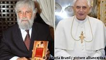 Kombobild Leonardo Boff und Papst Benedikt XVI