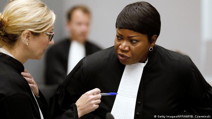 Fatou Bensouda speaks to a colleague at the ICC
