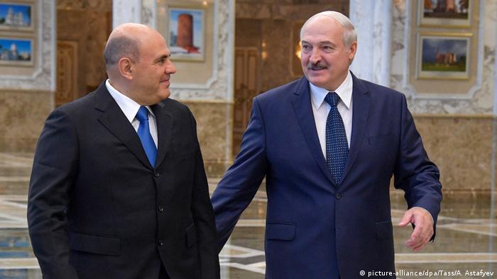 Премьер-министр РФ Михаил Мишустин и президент Беларуси Александр Лукашенко
