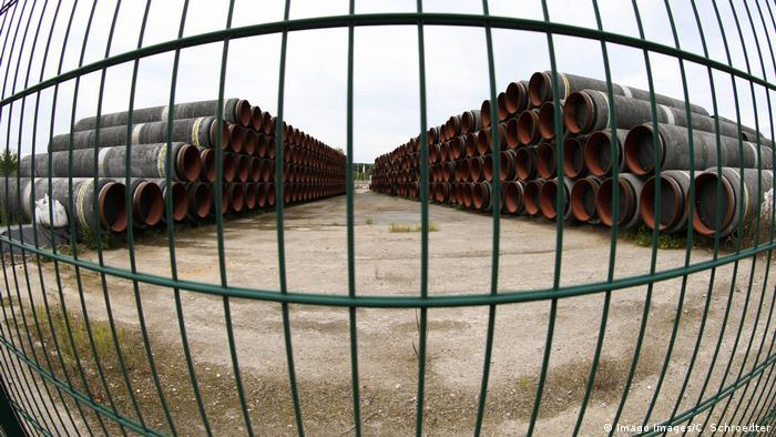 Pipes waiting to be used in the Nord Stream 2 project