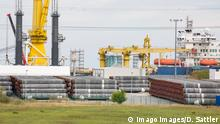 Interim storage of pipes with concrete jacket for the Nord Stream 2 natural gas pipeline at the port of Mukran Port on the island of Rügen