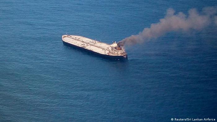 The New Diamond, a very large crude carrier (VLCC) chartered by Indian Oil Corp (IOC), that was carrying the equivalent of about 2 million barrels of oil, is seen after a fire broke out off east coast of Sri Lanka