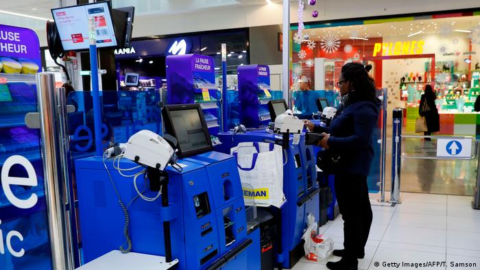 Self-checkouts are common in other European countries, such as France (pictured).
