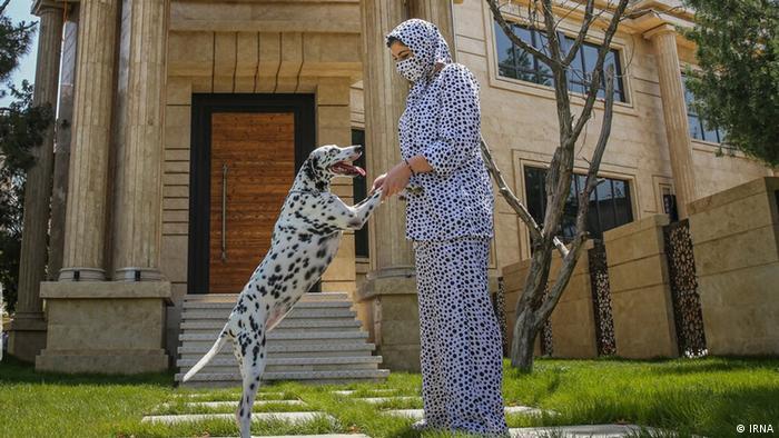 صاحب سگ از شدت علاقه، لباس به رنگ پوست سگ پوشیده است