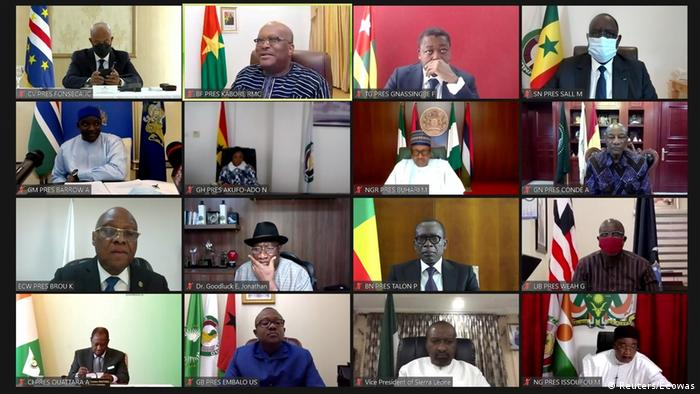 ECOWAS leaders in a video conference call. (Reuters/Ecowas)