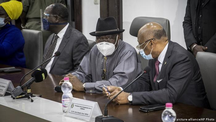 Nigeria's former president Goodluck Jonathan (left) and ECOWAS Commission President Jean-Claude Kassi Brou