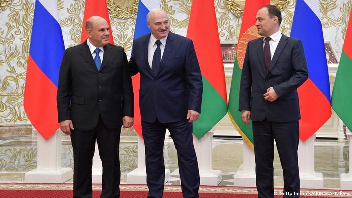 Mikhail Mishustin, Alexander Lukashenko und Roman Golovchenko (Getty Images/AFP/A. Astafyev)