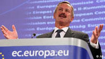 European Commissioner for Transport Siim Kallas addresses the media at the European Commission headquarters in Brussels, Monday April 19, 2010. The European Union says that the economic impact on its airline industry of clouds of volcanic ash halting much of flight traffic over the continent for days is worse than that of the 2001 terrorist attacks in the United States.(AP Photo/Yves Logghe)