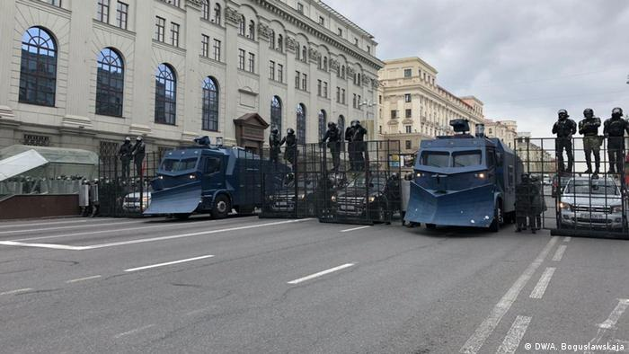 Riot police and armored vehicles in Minsk