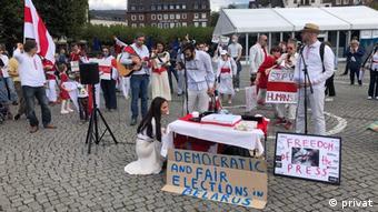 Акция в поддержку протестующих в Беларуси в Дюссельдорфе