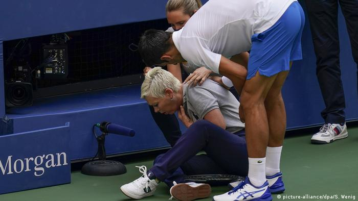 US Open 2020 Pablo Carreno Busta vs Novak Djokovic Linienrichter Treffer