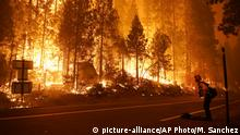 Gabe Huck, right, a member of a San Benito Monterey Cal Fire crew, stands along state Highway 168 while fighting the Creek Fire, Sunday, Sept. 6, 2020, in Shaver Lake, Calif. (AP Photo/Marcio Jose Sanchez) |