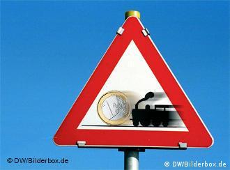 Symbolbild Eisenbahn schiebt Euro (Grafik: DW)