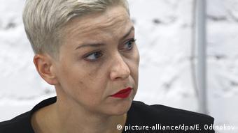 Мария Колесникова на пресс-конференции в Минске