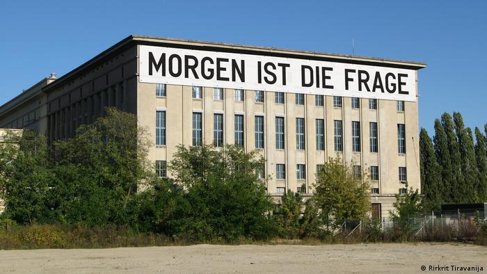 Exterior of Berghain club with banner by artist Rirkrit Tiravanija which reads MORGEN IST DIE FRAGE (Rirkrit Tiravanija)