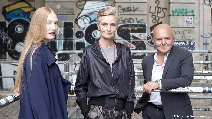 From left to right: Juliet Kothe, director of the Boros Foundation, Karen and Christian Boros (Max von Gumppenberg)
