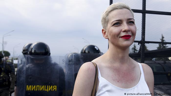 Belarusian musician and political activist Maria Kolesnikova is seen in front of the security forces