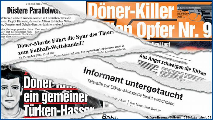 Collage of German newspapers' front pages with NSU related headlines (Otto Brenner Stiftung, OBS-Arbeitsheft 79)