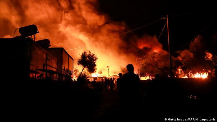 Пожар в лагере для беженцев Мориа на острове Лесбос