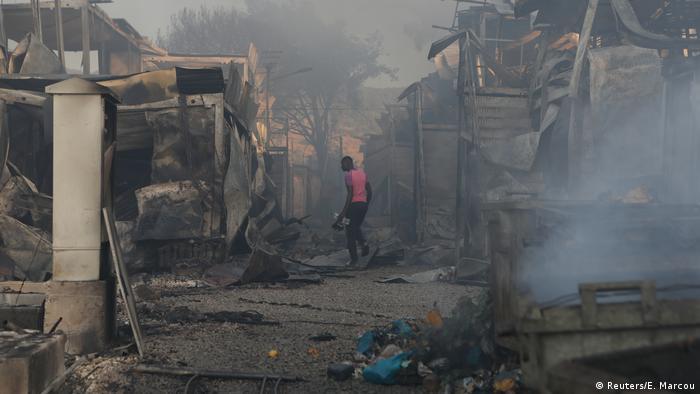Das Flüchtlingslager Moria ist weitgehend ausgebrannt