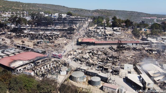 An aerial shot of the burned Moria refugee camp (Reuters/A. Konstantinidis)