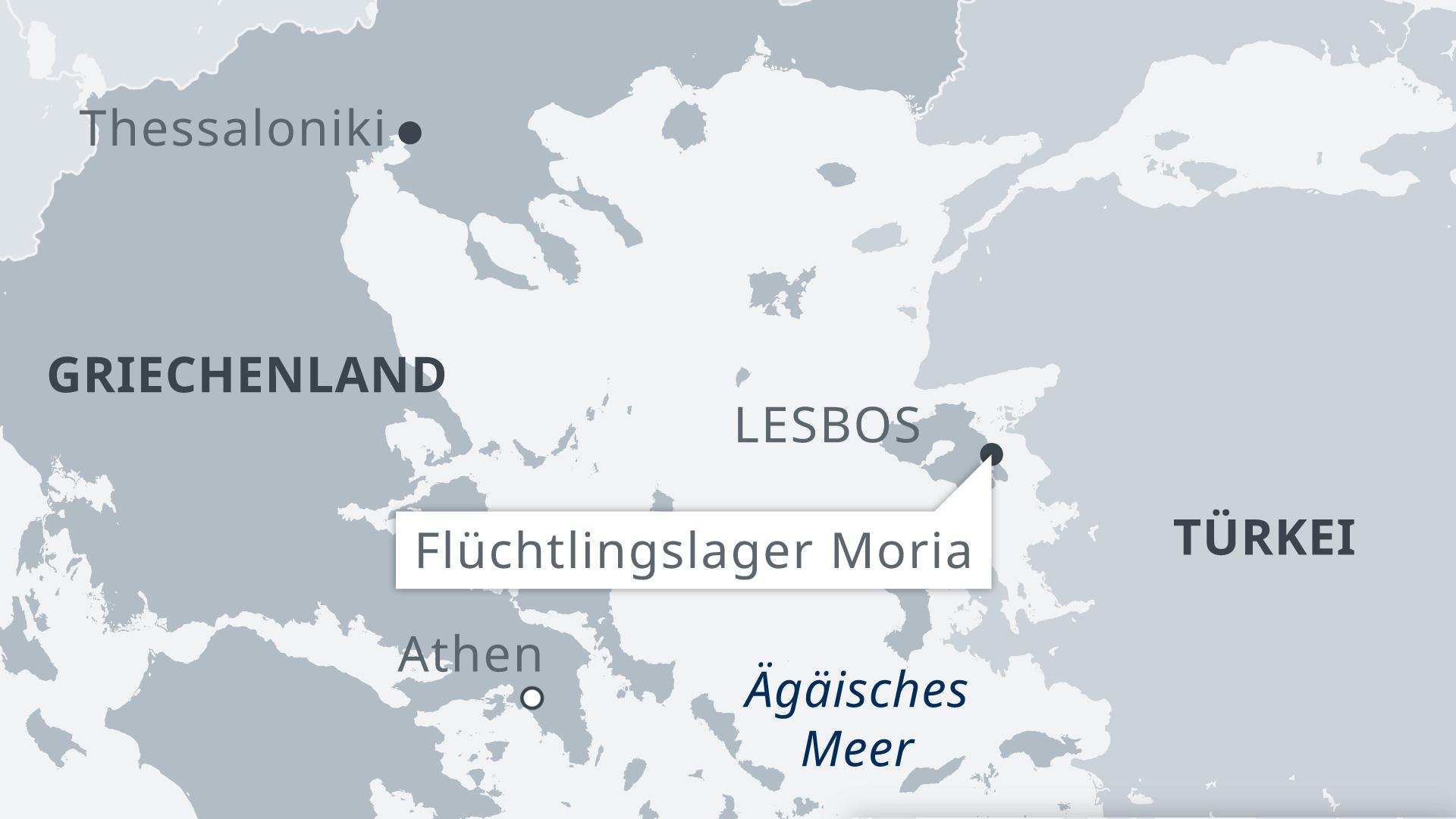 Infografik Karte Griechenland mit Lesbos und Flüchtlingscamp Moria