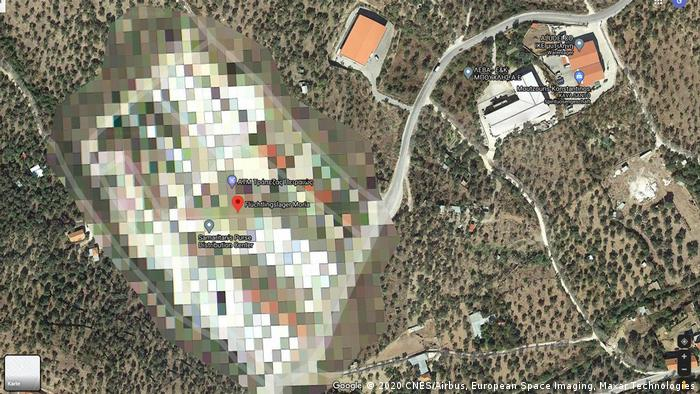 A pixelated Google Maps photo of the Moria refugee camp (2020 CNES/Airbus, European Space Imaging, Maxar Technologies)