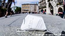 September 4, 2020, Munich, Bavaria, Germany: An FFP2 mask discarded on the ground at Munich s Marienplatz. Bavaria recently made the infection and masking laws stricter due to non-compliance. Munich Germany - ZUMAb160 20200904_zbp_b160_002 Copyright: xSachellexBabbarx