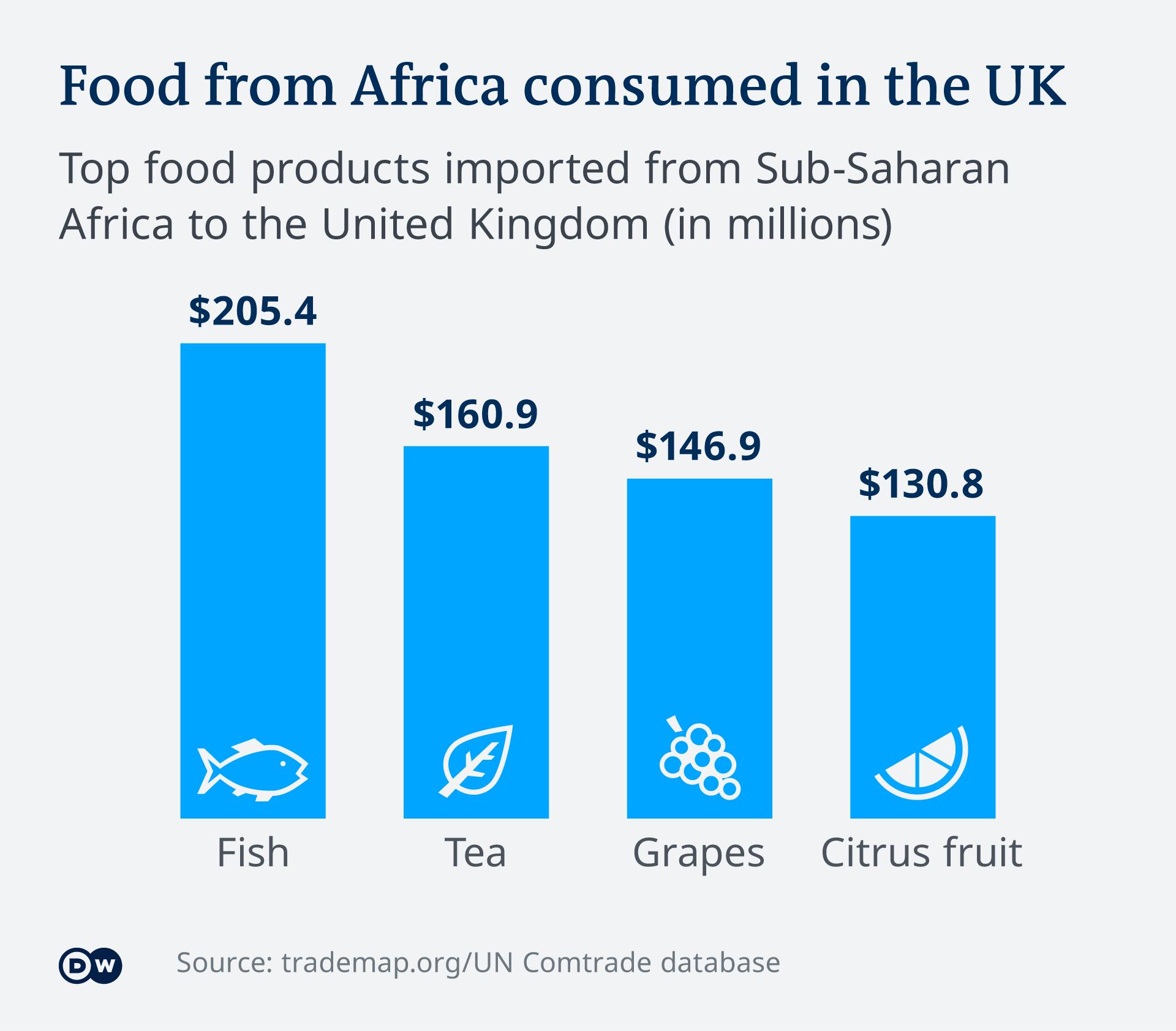 Infografik Food from Africa consumed in the UK EN
