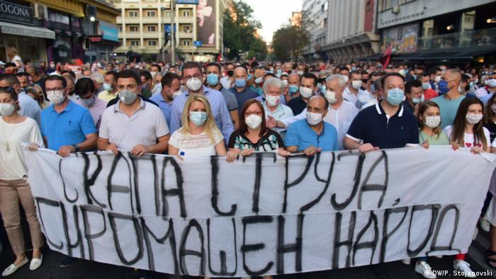 Nord-Mazedonien Protest gegen Strompreise (DW/P. Stojanovski)