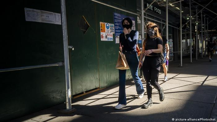 Pedestrians wearing face masks in New York.