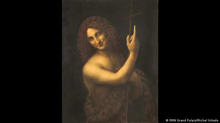 Leonardos Gemälde zeigt Johannes den Täufer mit halbnacktem Oberkörper und erhobenem Zeigefinger (RMN Grand Palais/Michel Urtado)