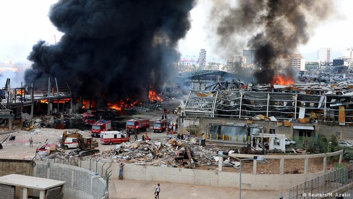 Smoke and fire at the Beirut port