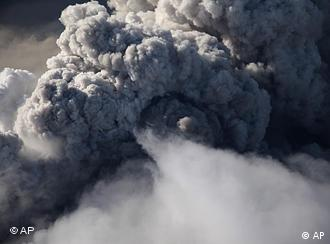 A plume of ash rising from Iceland's Eyjafjallajoekull volcano