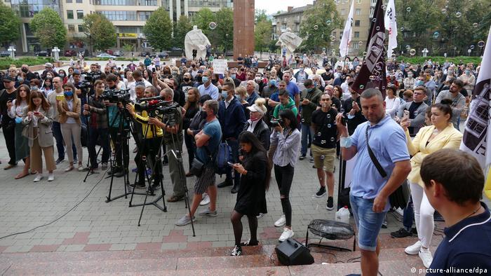 Під час антикарантинного протесту в Івано-Франківську, 3 вересня 2020 року