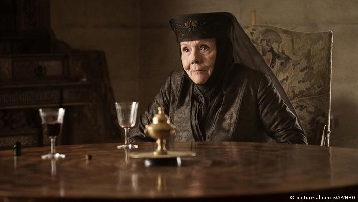 Diana Rigg playing Olenna Tyrell in the series Game of Thrones