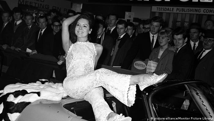 Actress Diana Rigg on the Lotus stand at the London Motor Show at Earls Court, London in October 1965
