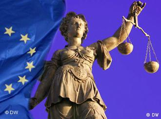 Justice statue and European flag