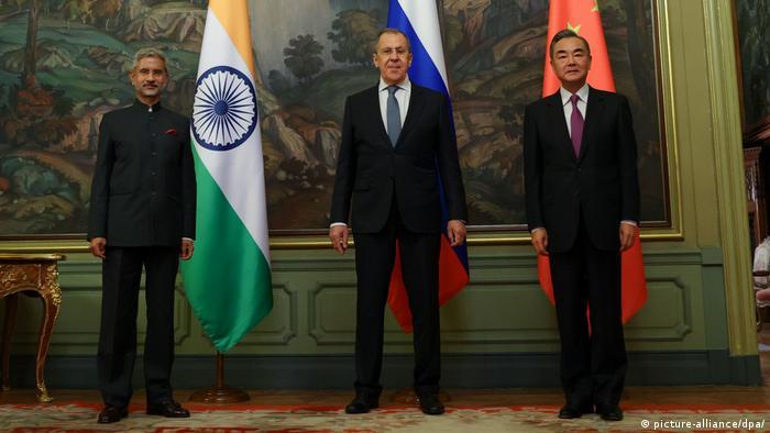 Russland Moskau Außenminister Subrahmanyam Jaishankar, Sergei Lavrov und Wang Yi