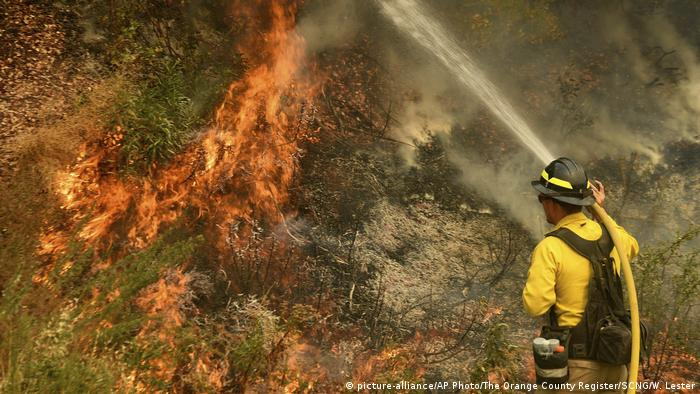 EIn Feuerwehrmann hält einen Wasserstrahl aus einen Schlauch auf Flammen (picture-alliance/AP Photo/The Orange County Register/SCNG/W. Lester)