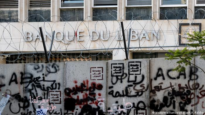 Barbed wire and graffiti around Lebanon's central bank this summer