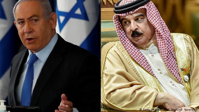 Primeiro-ministro israelense, Benjamin Netanyahu, e rei do Bahrein, Hamad bin Isa al Khalifa