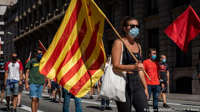 Catalonians protest in favor of independence at the annual Diada