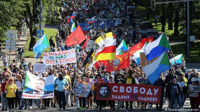 Russland Chabarowsk | Demonstration für inhaftierten Gouverneur Sergei Furgal (Reuters/E. Pereverzev)