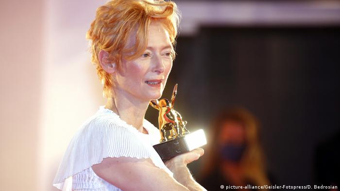 Tilda Swinton accepting an honorary Golden Lion in Venice in 2020.