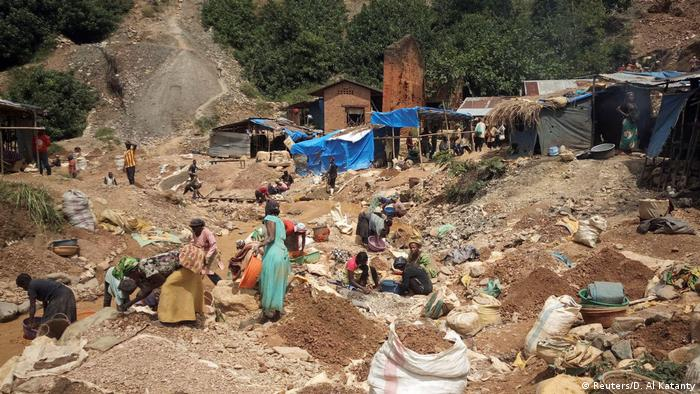 A small scale gold mine in South Kivu province DRC