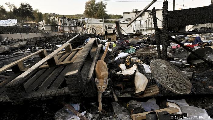 На месте сгоревшего лагеря для беженцев Мориа на острове Лесбос