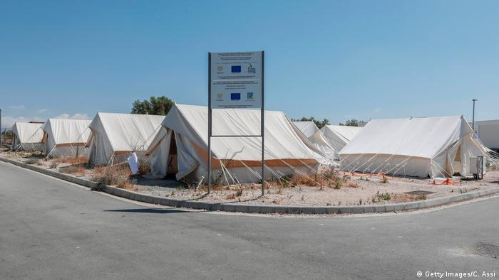 Tents at Pournara refugee camp in Cyprus