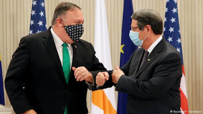 Zypern Nikosia | Mike Pompeo, Außenminister USA |Nicos Anastasiades, Präsident (Reuters/P. Karadjias)